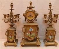 3pc. French bronze garniture set, 18/19th c. man at
