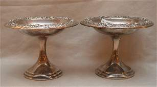 """Pair Kirk sterling repousse compotes, 15ozt, 6 1/2""""h x"""