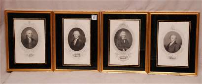 7 Old Engravings of US Presidents in glass reverse