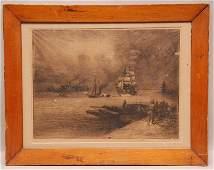 Felix Buhot (French 1847-1898)- ''Enrrons de Gravesend'
