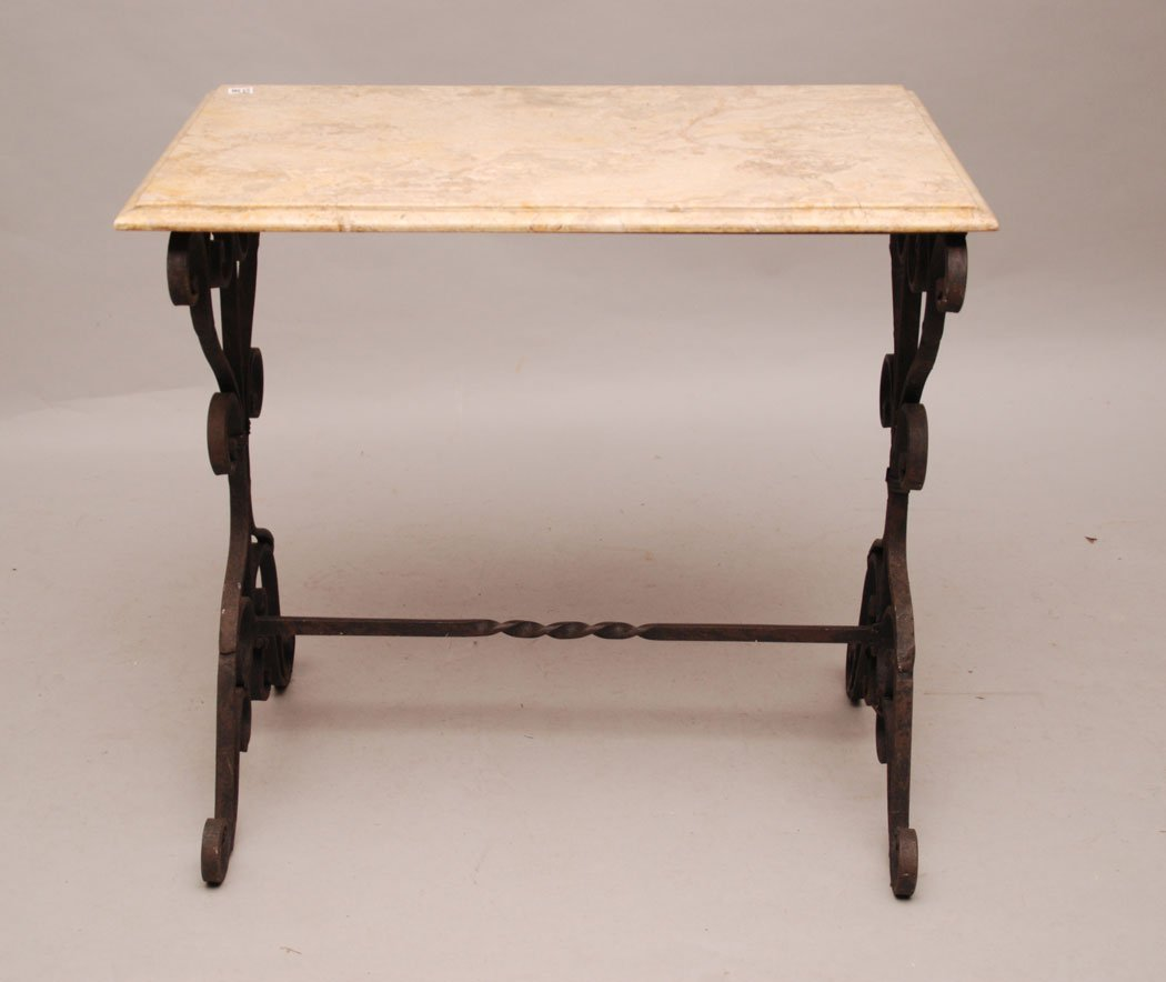 """Foyer table, wrought iron base with marble top, 66""""h x"""