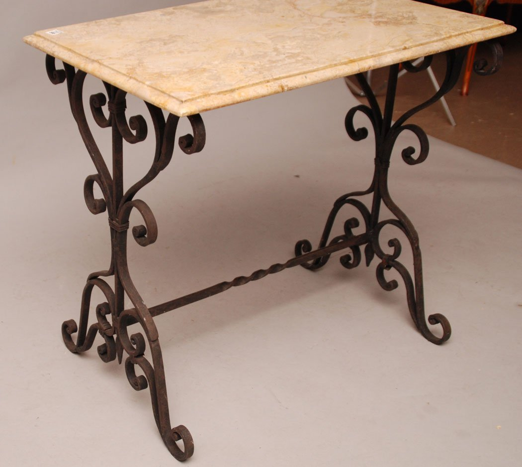"""Foyer table, wrought iron base with marble top, 66""""h x  - 2"""