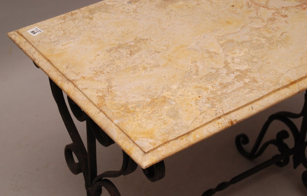 """Foyer table, wrought iron base with marble top, 66""""h x  - 3"""