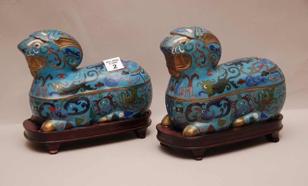 Pair Cloisonné Ram Form Boxes on custom carved wood bas