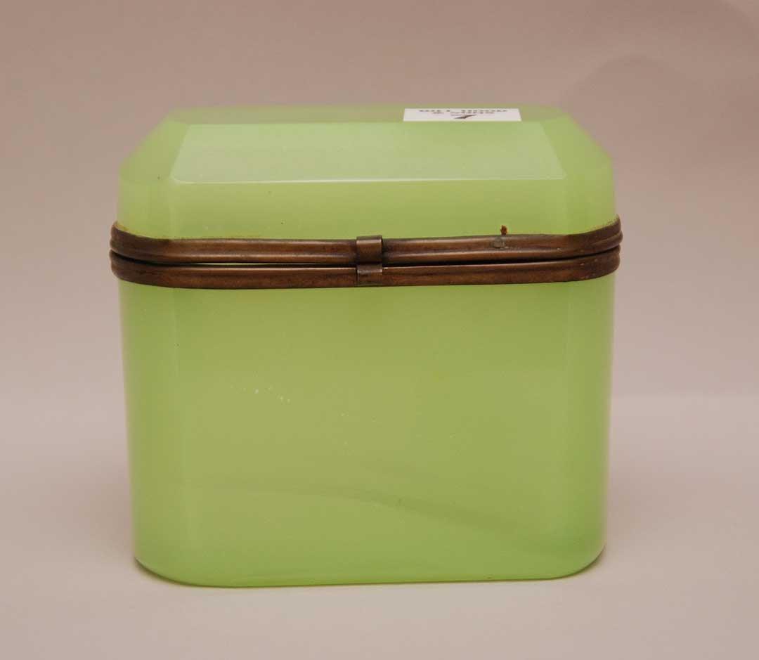 "Green Opaline Glass Box.  Condition: good. H. 4"" W. 4"""