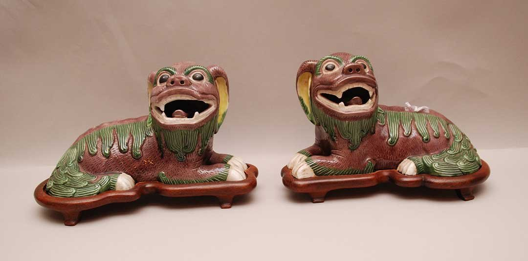 Pair Chinese Porcelain Dog Figures with custom wood bas