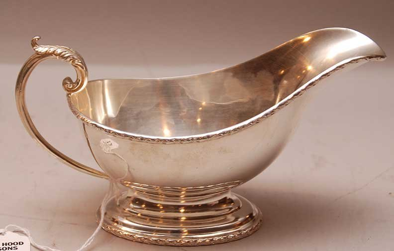 Antique English Sterling Gravy Boat.  Condition: good w