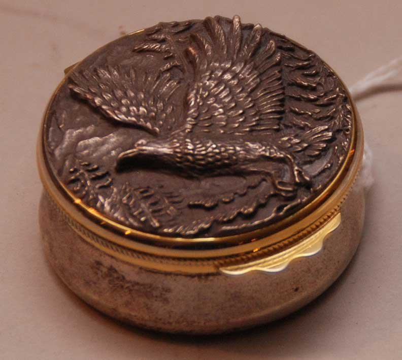 Buccellati Sterling Box with Eagle Top.  Condition: goo