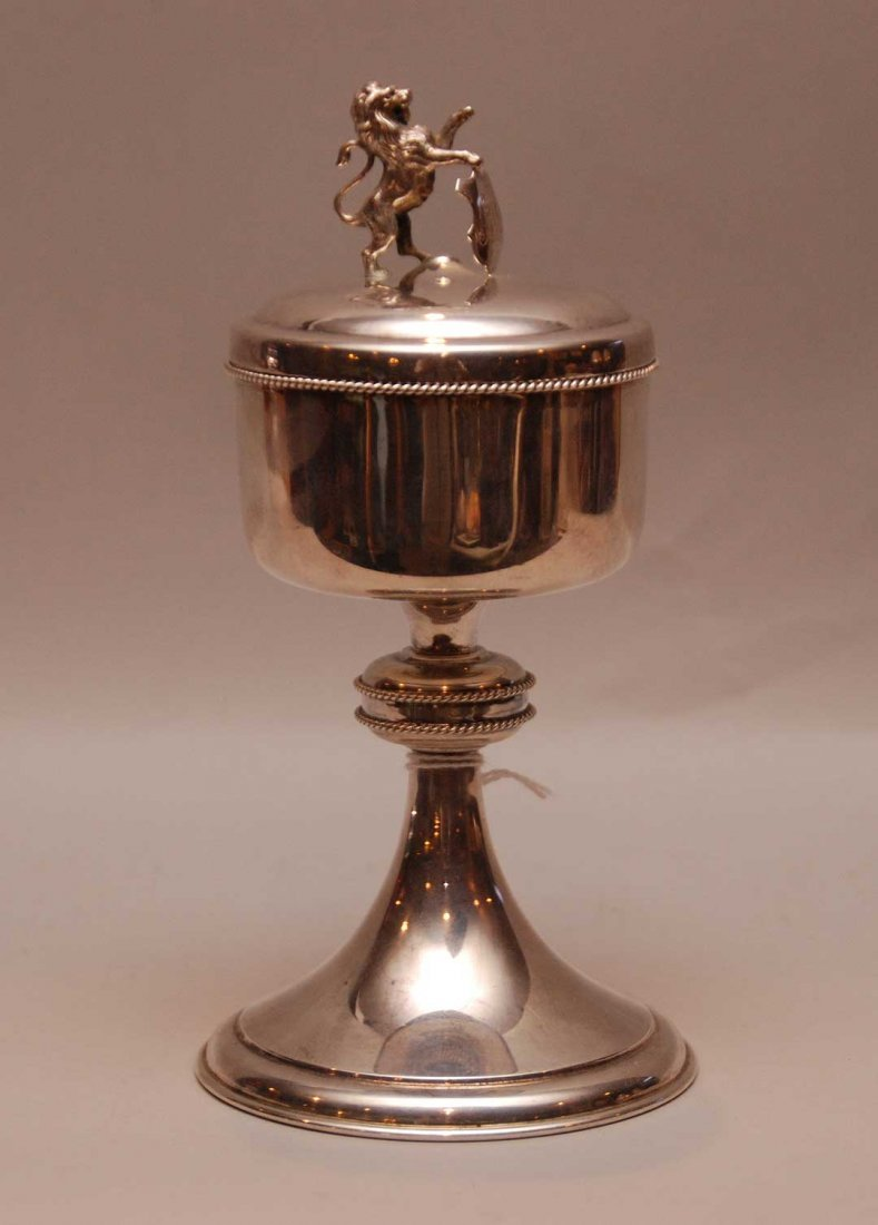 English Sterling Chalice and Cover with figural lion