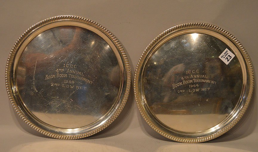 Two Sterling Cocktail Trays.  Condition: minor normal w