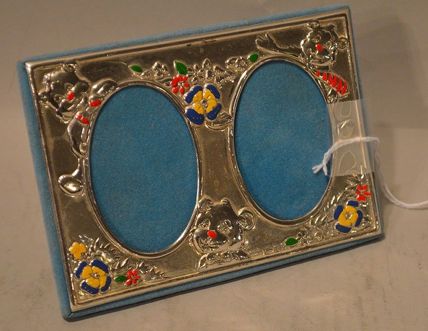 Sterling & Enamel Double Child's Picture Frame.  Condit