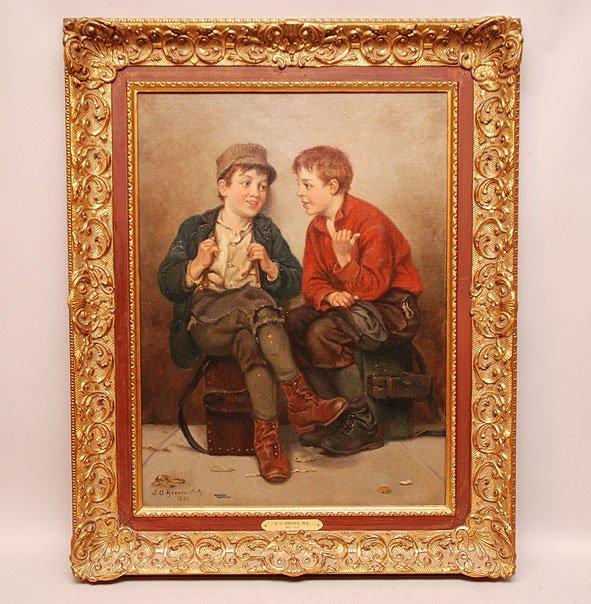 John George Brown  (American 1831 - 1913) oil on canvas