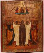 19th Century Russian hand painted Icon on wood panel