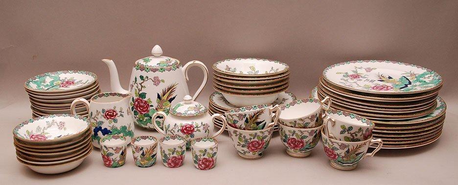 "Crown Staffordshire china ware set ""Rock Bird"" pattern"