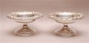 Pair Kirk Sterling Repousse Compotes. Condition: good