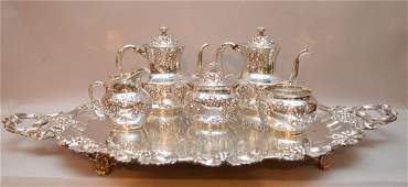 VICTORIAN 5-PC TEA SERVICE AND NON MATCHING SILVER