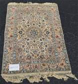 Fine Persian oriental rug blue on ivory field
