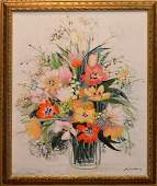 MichelHenry FRENCH 1928 oil on canvas Floral still