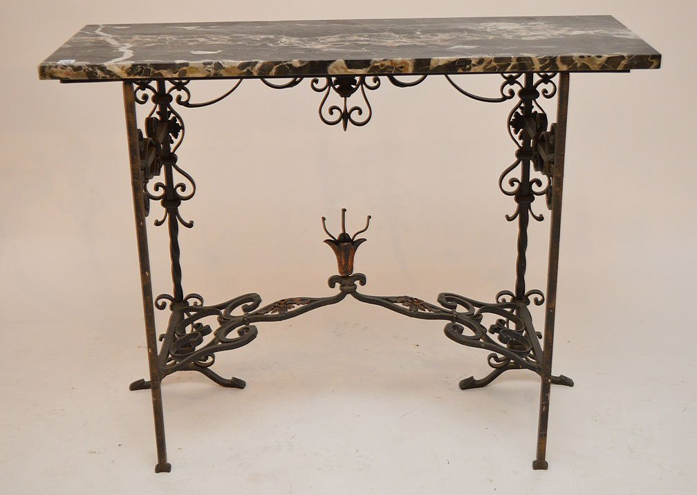 Wrought iron entry table with black marble top and