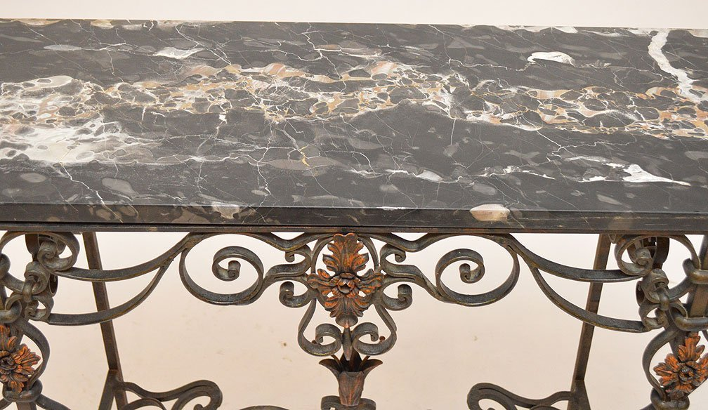 Wrought iron entry table with black marble top and - 3
