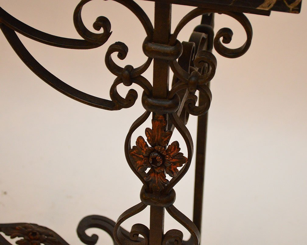 Wrought iron entry table with black marble top and - 4