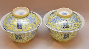 Pair Chinese Porcelain Rice Bowls and covers.