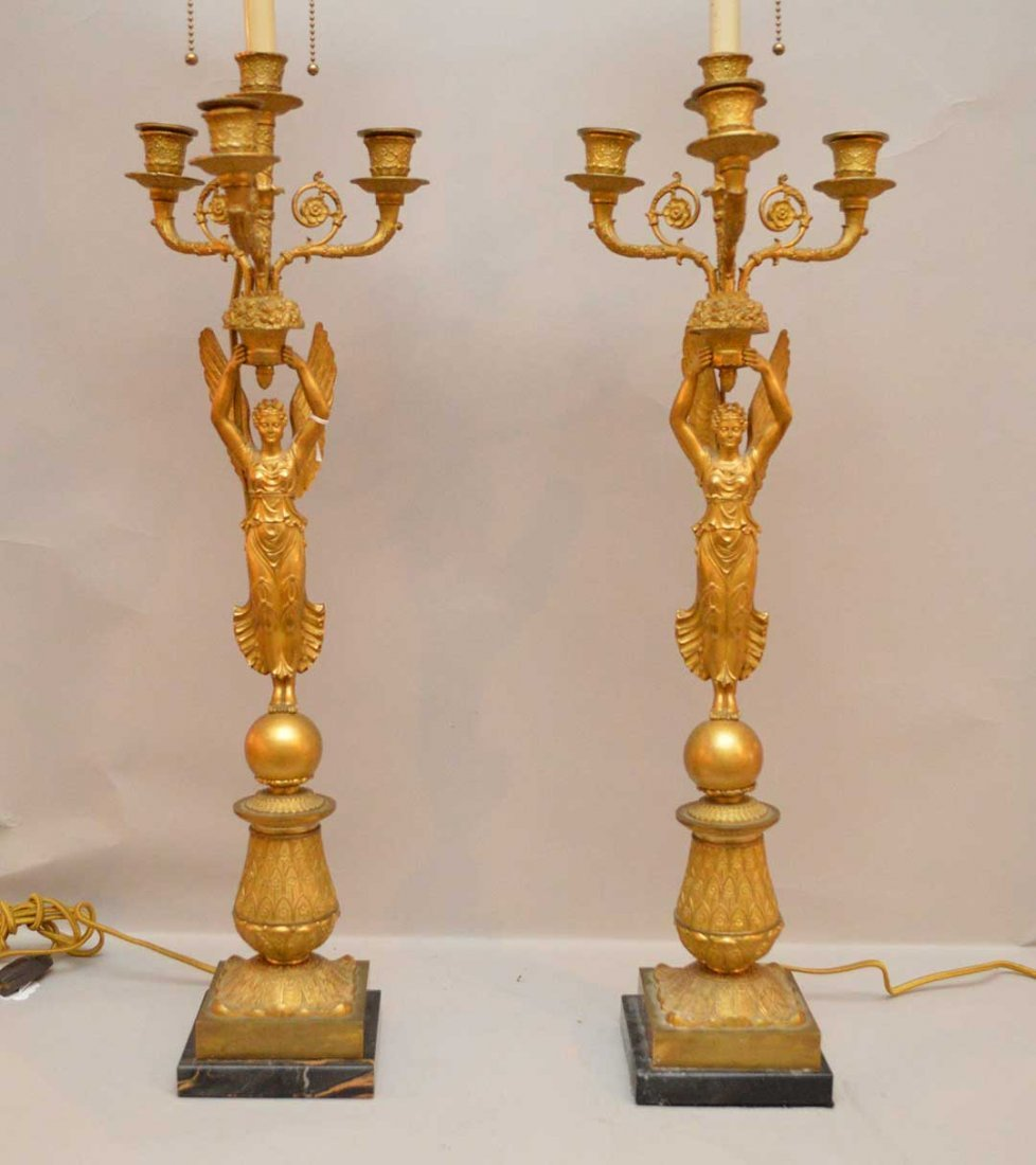 Pair French Gilt Bronze Three Light Candelabra
