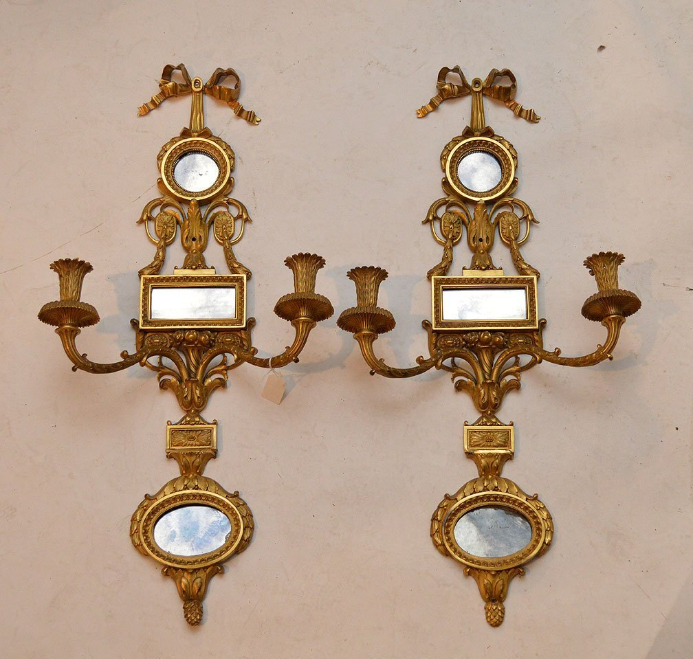 19th Century French Pair of Gilt Bronze Sconces