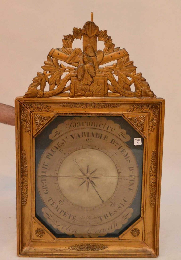 19th Century Carved Giltwood Barometer with handpainted