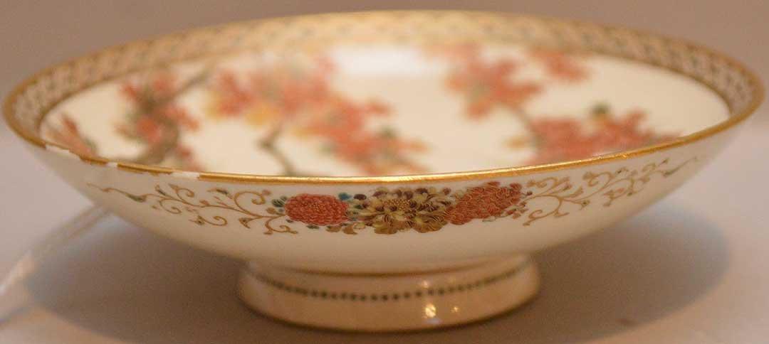 Antique Satsuma Porcelain Dish with landscape scene.
