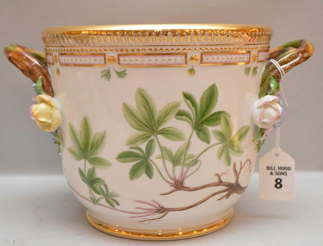Flora Danica Porcelain Cache Pot.  Condition: good.
