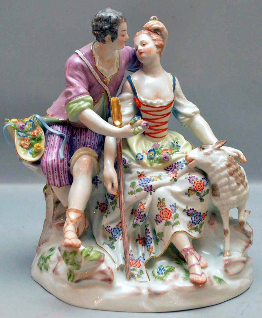 Meissen Porcelain Group.  Courting couple, Condition: