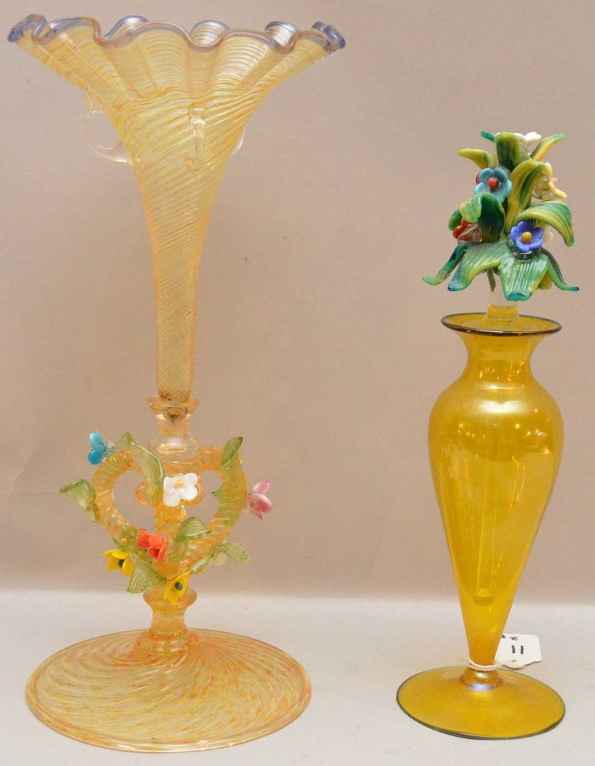 Venetian Glass Vase with ruffled rim and Perfume Bottle