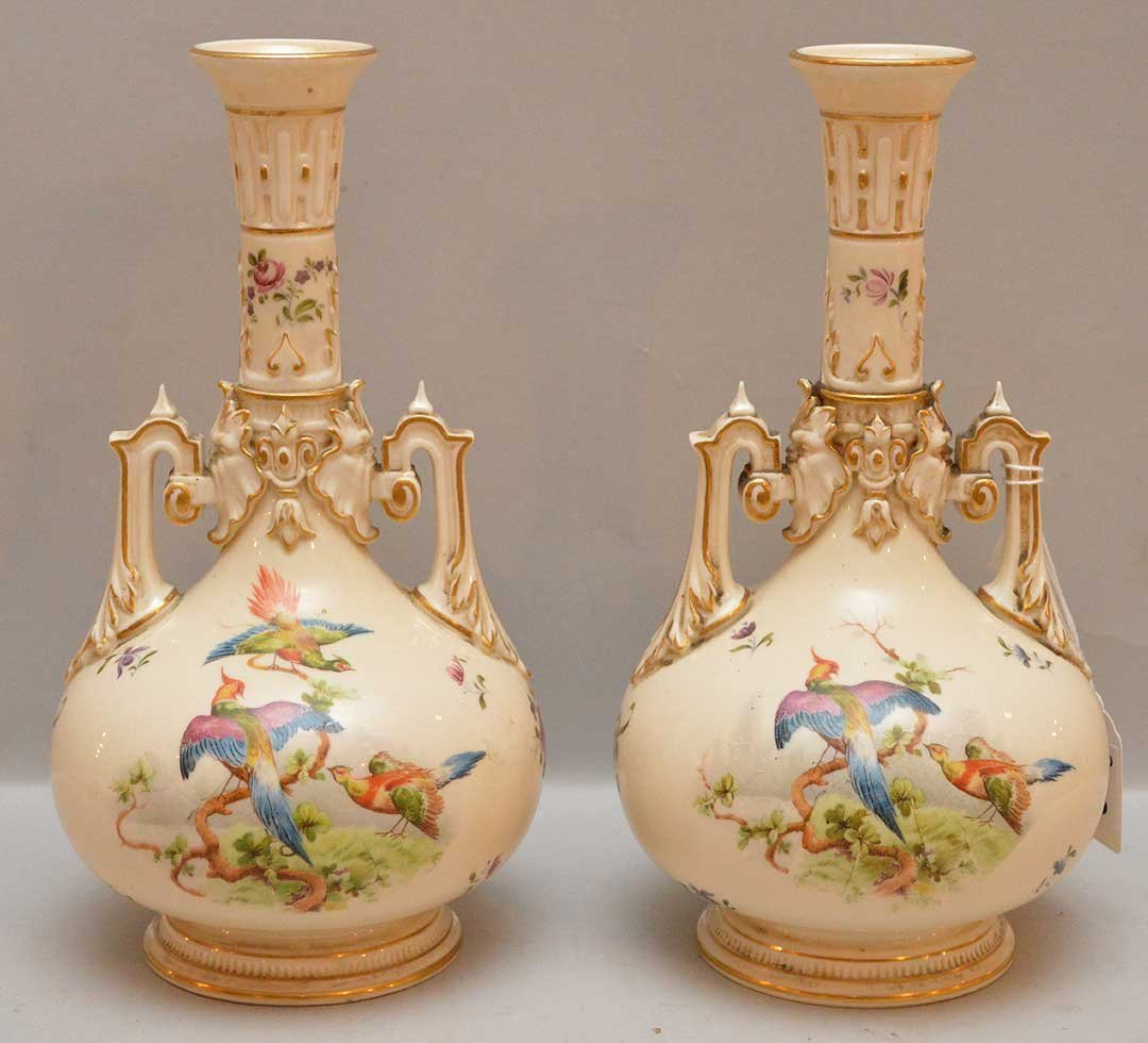 Pair Royal Worcester Porcelain Vases each with hand