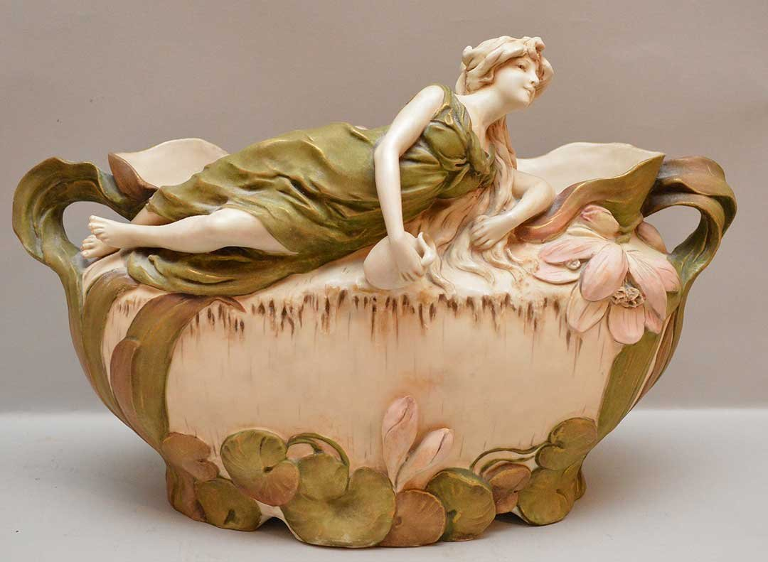 Royal Dux centerpiece bowl with reclining female, 9