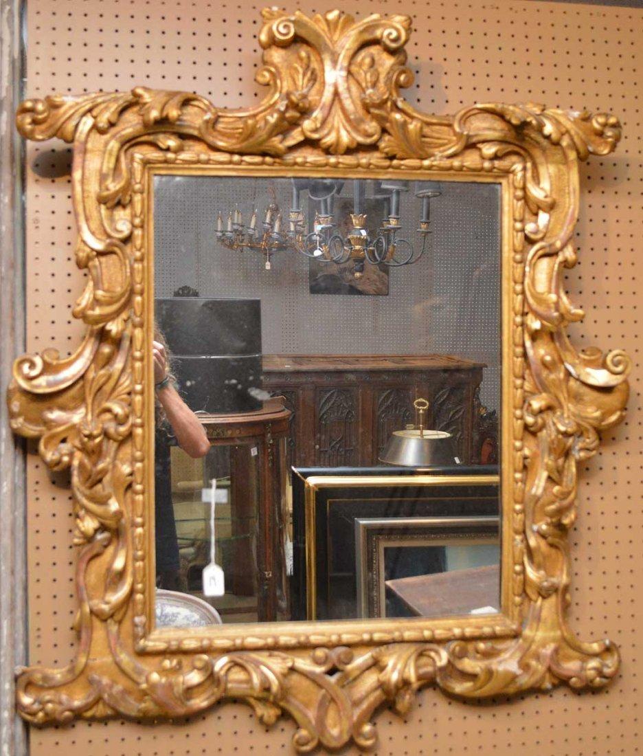 "19th c. carved giltwood mirror. 46"" x 38"" (minor wear"
