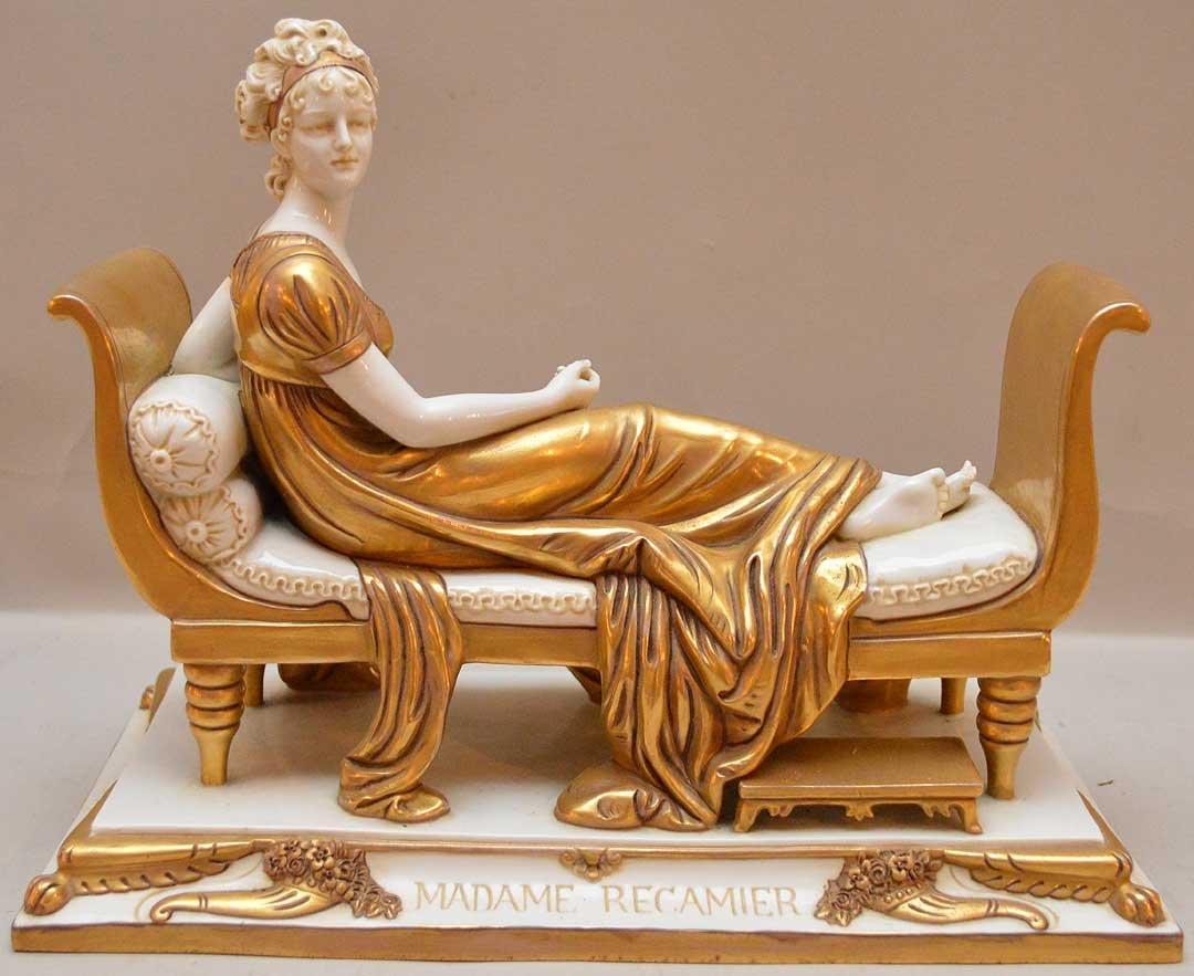 """Madame Recamier porcelain figurine, 9 1/2""""h x 11 1/2""""w"""