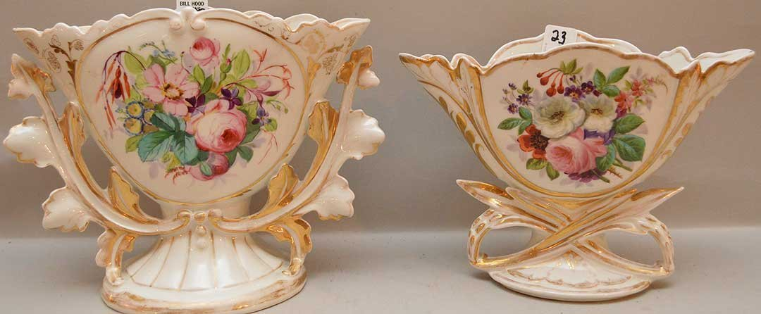 """2pc. Paris porcelain vases, 7 1/4""""h & 8 1/2""""h"""