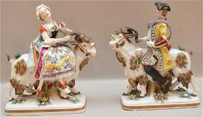 Pair German Porcelain Figures Man & Woman Riding Goats.