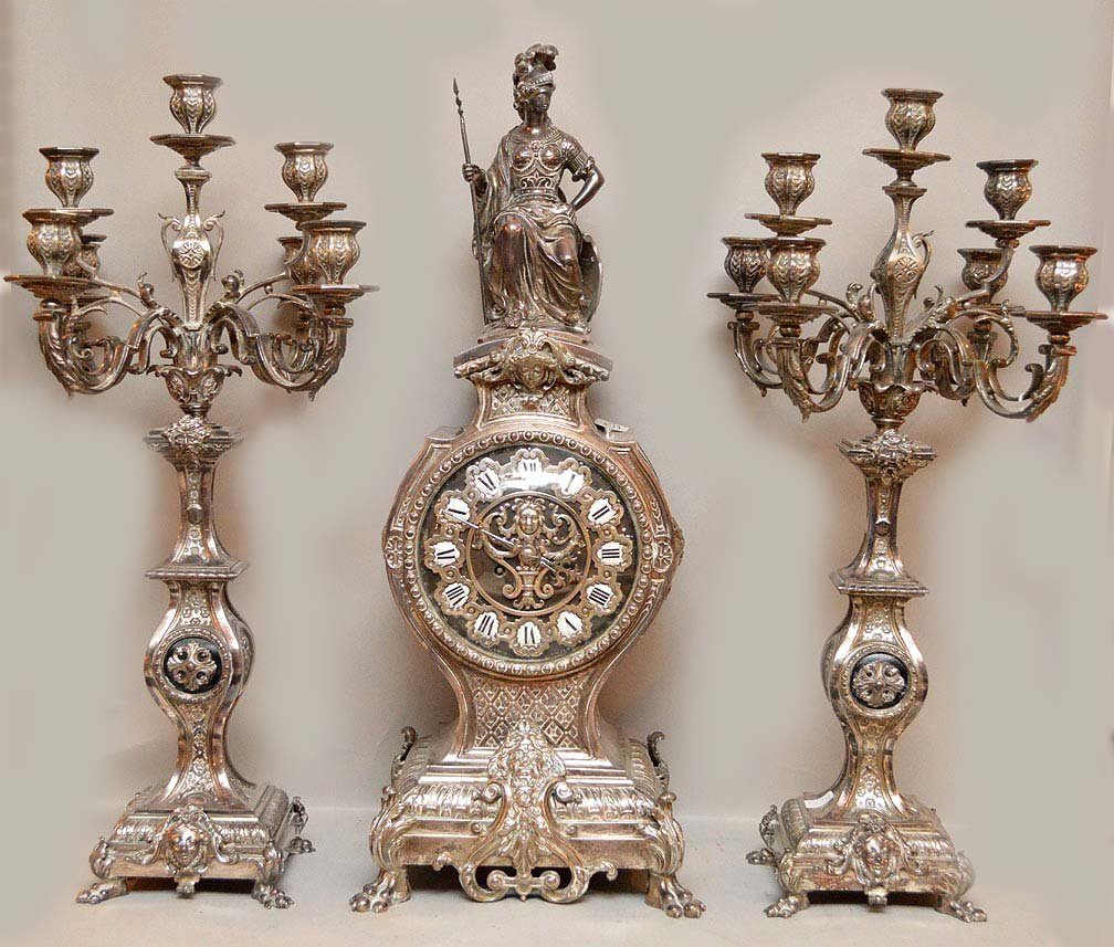 19th Century Silvered Bronze Clock Garniture.  The