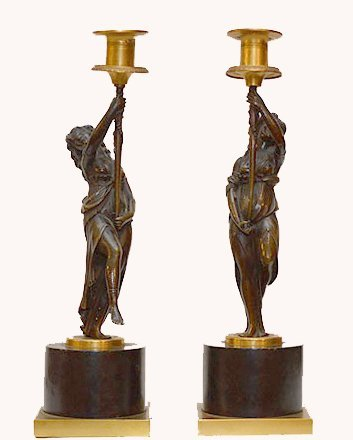 Pair 19th Century Figural Bronze Candlesticks.