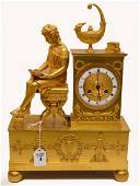 19th Century Gilt Bronze Figural Clock with time and