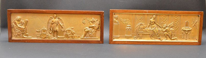 Pair Gilt Bronze Plaques in mahogany frames.