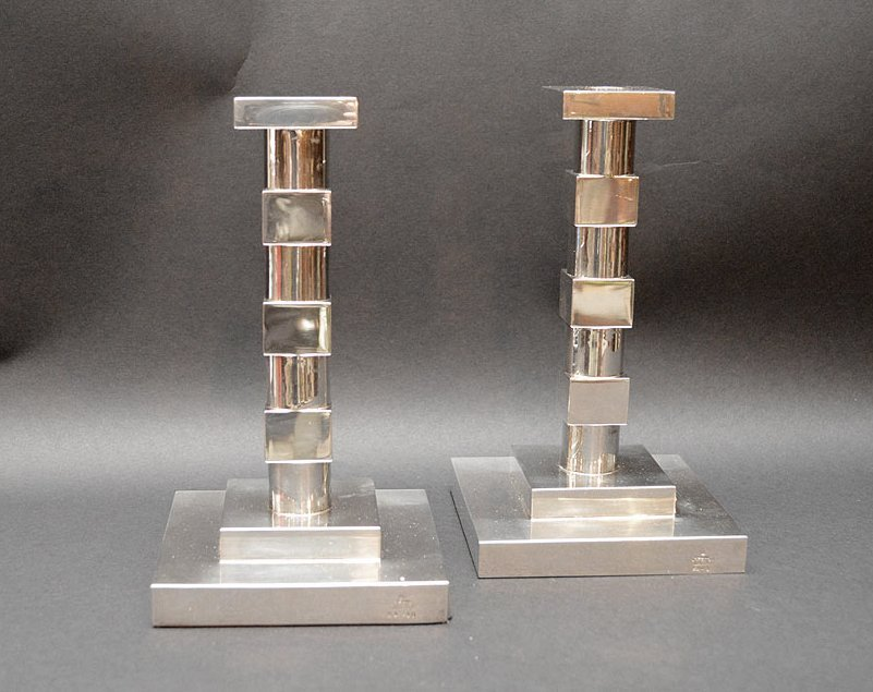 Pair Bvlgari Sterling Deco Form Candlesticks.
