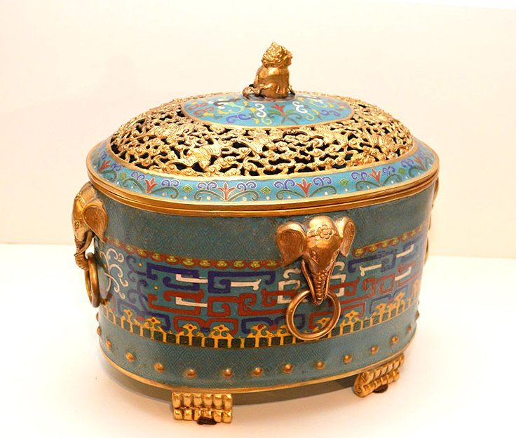 Large Chinese Cloisonné Box with reticulated top.
