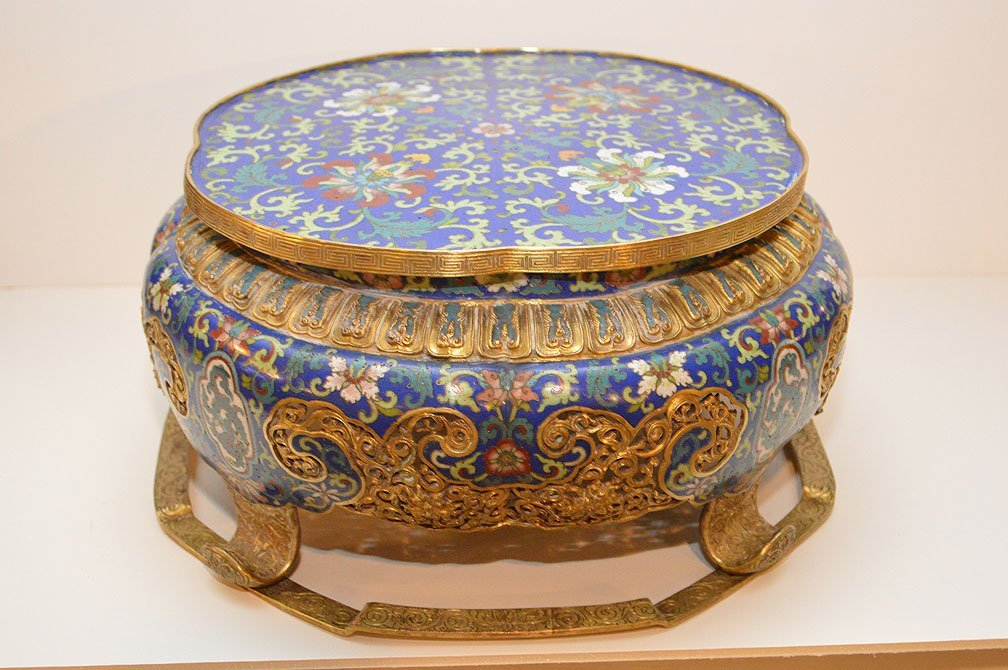 Large Antique Chinese Cloisonné Plateau.  Condition: