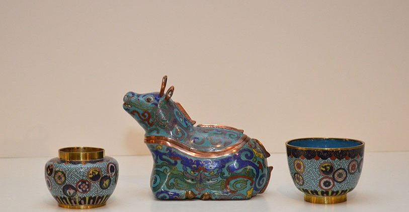 Antique Chinese Cloisonné Cow Form Box. Together with