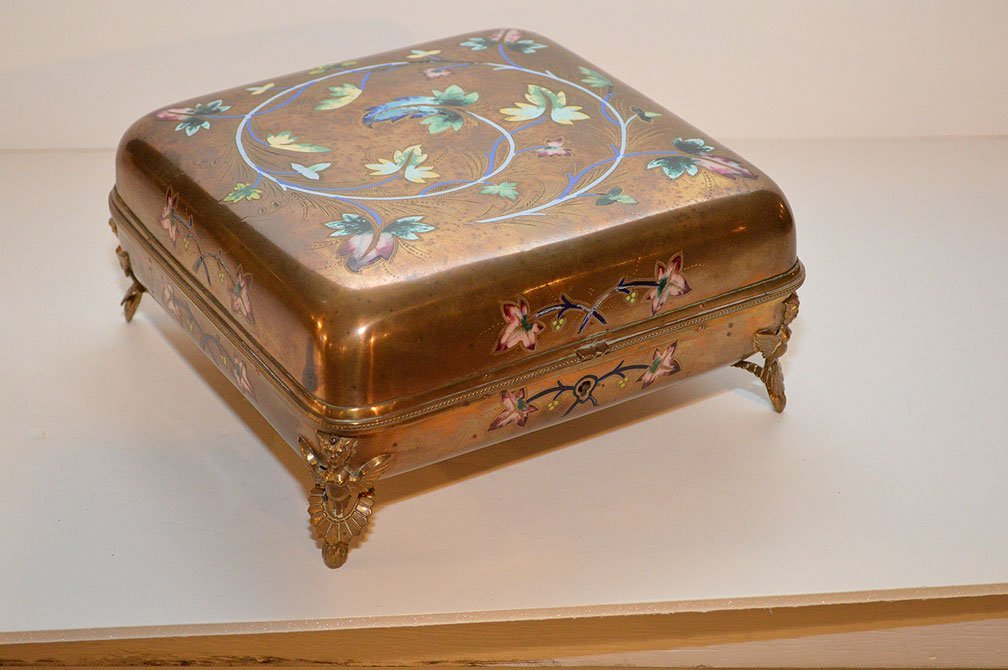 Antique Box with enamel floral decoration.  Condition: