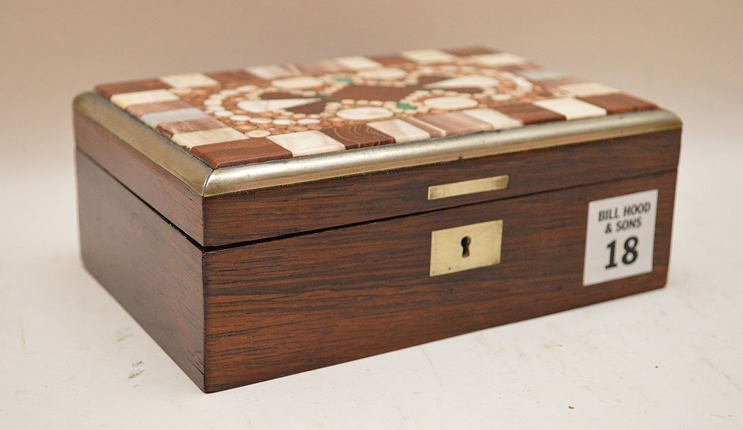 Mahogany Box With Pietra Dura Top.  Condition: good. H.