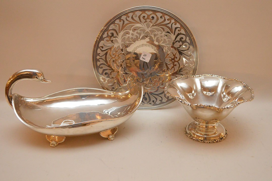 "3 Sterling Pieces; Swan centerpiece, Lth. 12 1/2"" Bowl"